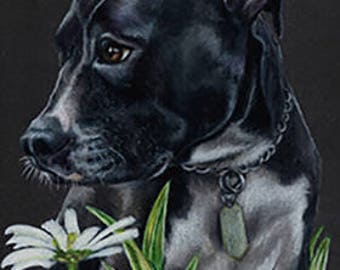 Pitbull with Flowers Art Note Card