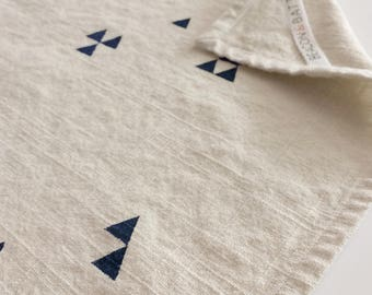 Triangle Towel : Natural Ivory Ground - Navy Blue Print