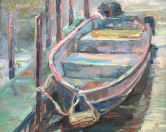 Original Oil Painting Boat Impressionist Painting