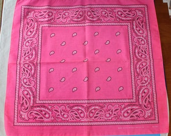 Vintage PINK Bandana, Made in USA, Cotton/Poly