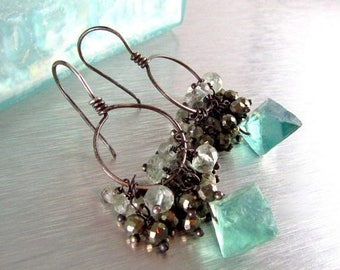 25 OFF Raw Fluorite Crystals With Green Amethyst and Pyrite Cluster Earrings, Oxidized Silver Natural Gemstones