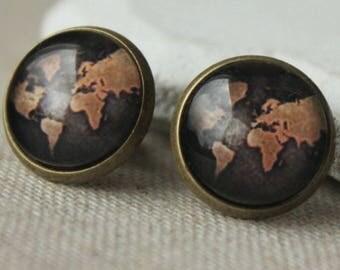 World earrings, Vintage Map Earrings POST earrings or CLIP earrings Old map earrings, earth earrings clips or studs Travel jewelry E424