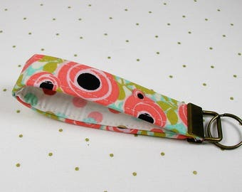 Key Fob Wristlet, Fabric Key Chain, Wrist Key Chain ..Coral Floral