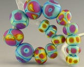handmade lampwork glass bead set of 15 etched rounds and rondelles in bright reactive colors - Joy Ride