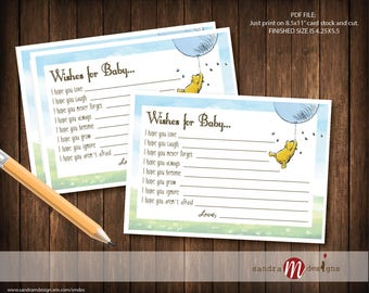 Classic Winnie the Pooh Baby Shower Wishes for Baby Note
