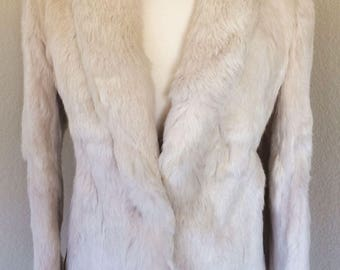 Vintage Dyed Rabbit Off White Fur Jacket, Vintage Coat Size Small
