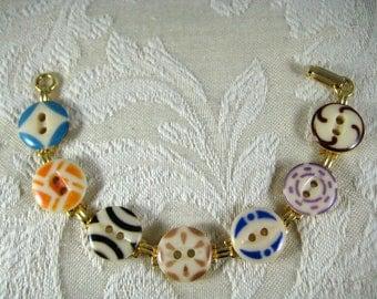 1920s COLORFUL CHINA STENCIL Button Bracelet