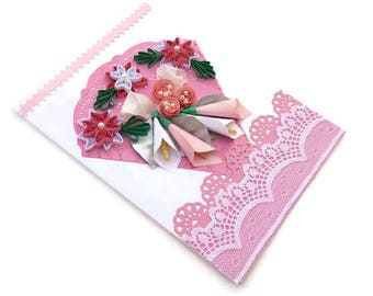 Paper Quilling Card Pink Lilies, Paper Quilled Silver leaves, Free Shipping, Birthday, Mom Floral Art, Congratulations, Thinking Of You