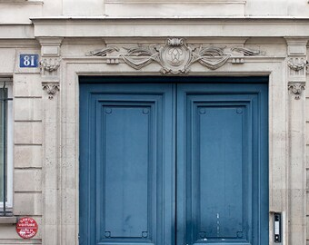 Paris Photography, Julia Child's Blue Doors on the Left Bank of Paris, Paris Photo ,French Home Decor, Soft Blue, Easter, Spring in Paris