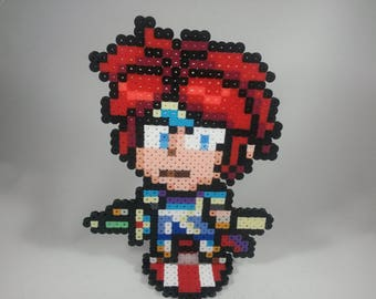 Roy - Fire Emblem - Super Smash Bros - Perler Bead Sprite Pixel Art Figure Stand or Lanyard Necklace