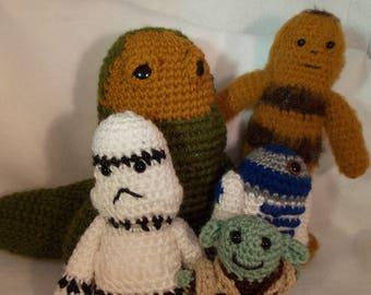 Handmade Star Wars Characters~Hand Crocheted Star Wars Dolls~Jabba the Hutt~R2D2~Yoda~Chewbacca~Storm Tropper