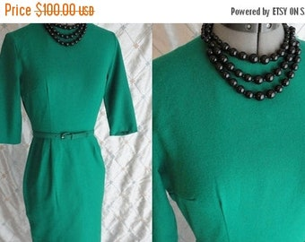 "ON SALE 50s 60s Dress // Vintage 1950's 1960's Emerald Green Wiggle Dress with belt by Style Row Size S 25"" waist"