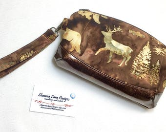women's wristlet, gift for outdoor hunting girls, clutch purse, Ready to ship small handbag, cell phone purse, made in Montana, Clematis