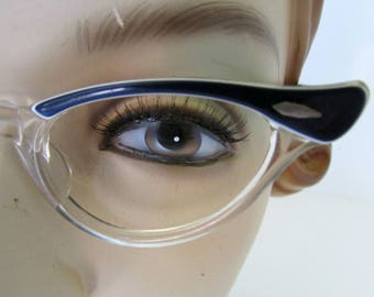 Vintage Cat Eye Glasses Eyeglasses Frames Navy Blue and White 1950s Fashion Glasses Bausch and Lomb