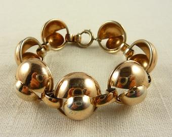 Vintage Napier Rose Gold Plated Sterling Mid-Century Modern Link Bracelet