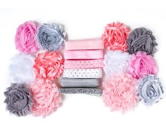 Ballerina : Pink Grey Sparkle DIY Headband Kit | 6 or 12 Headbands | Chiffon Flower FOE Fold Over Elastic | Princess Parties & Baby Showers