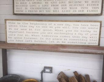 This is the beginning white farmhouse look wooden sign