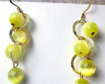 SALE, 50%, Yellow Cats eye on gold plated loop dangle, yellow earrings, cats eye beads, holiday earrings, summer colors, dangle earrings