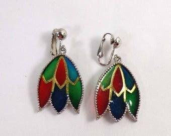 SALE Celebrity Earrings Stained Glass PLIQUE a JOUR Silver Dangle Clip Back 838