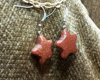 Red Goldstone Stars Earrings
