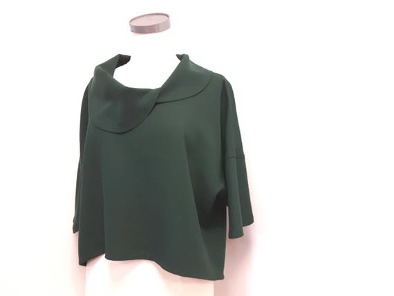 Mantle, women clothing, classic style, loose fit top, pure wool, dark green, one size