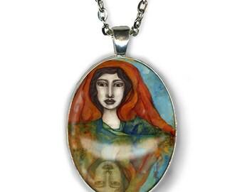 Statement necklace - Freyja Goddess - Goddess Jewelry - Goddess Art - Norse Goddess - Norse mythology - girlfriend gift necklace - boho chic