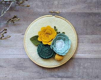 "5.5"" Felt Floral Hoop Wall Decor 