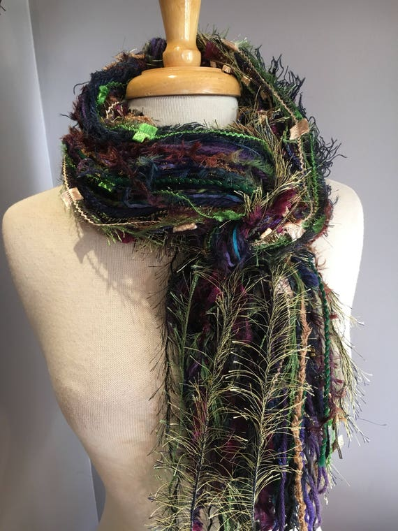 Fringie in Falling Leaf, Fall color scarf, Fringe Scarf, knotted handmade scarf, boho chic, art yarn scarf, blue green brown, neckwarmer
