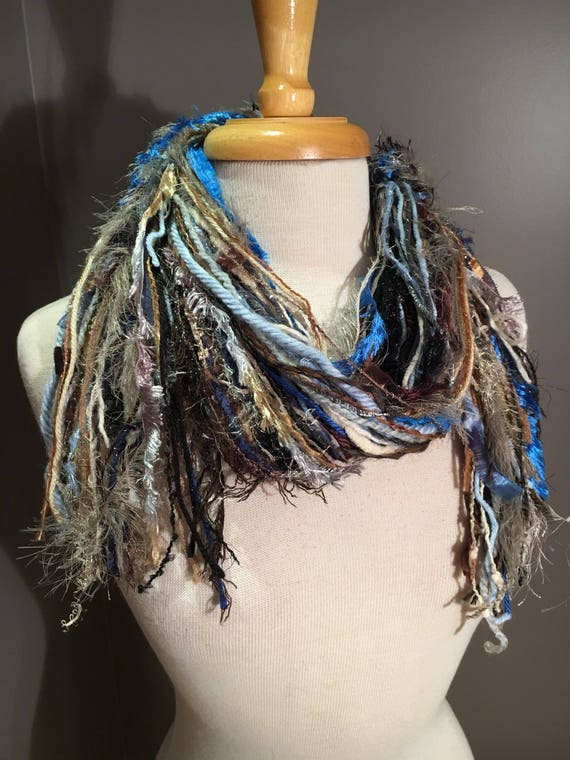 Medium Fringie in Montana - Black Taupe Brown Blue All Fringe Scarf - Multitextural hand-tied fringe scarf, boho accessory, tribal, artsy