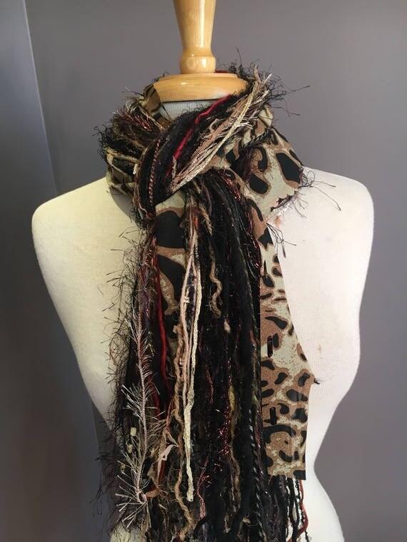 Fringie in Safari Cheetah, Handmade tied scarf, art yarn, fringe scarves, boho mode, brown black, funky