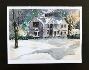 FREE SHIPPING, Christmas Cards, Winter, Snow, Landscape, Night-time, Christmas Season, Verse, Watercolor Fine Art  Print by Janet Dosenberry
