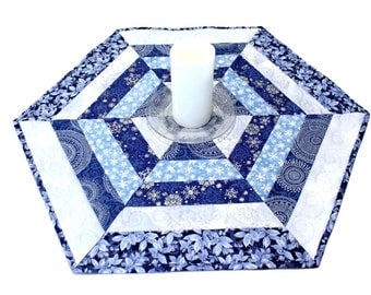 Snowflakes Quilted Table Runner, Blue and Silver Hexagon Table Topper, Christmas Table Runner Quilt, Quiltsy Handmade Patchwork Quilt