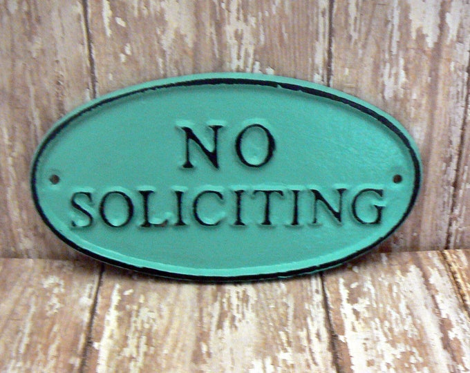 No Soliciting Cast Iron Sign Shabby Chic Aqua Turquoise Wall Door Home Office Decor