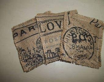 French Burlap Sachets ~ Set of 3 Shabby French Sachets ~ Sachet Pillows
