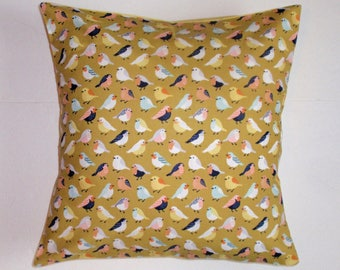 SUMMER SALE - Throw Pillow Cover, Birds in Yellow Throw Pillow Cover, Cheerful Bird Accent Pillow Cover, Handmade Decorative Cushion Cover