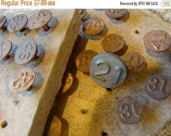 ONSALE Rare Antique Numbered Copper Tacks Steampunk and Assemblage Supplies Lot of 3
