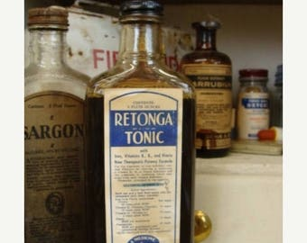 ONSALE Antique Apothecary Tonic Extra Large Old Bottle