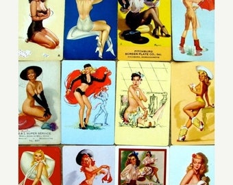 ONSALE Antique Pin ups Gorgeous Signature and Advertisement  Sexy Pin Up Girl Card Lot Great for His Valentine