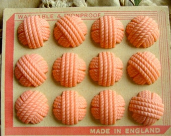 ONSALE One Dozen Large Vintage Pink Kitsch Old Mop England Button set on Original Card