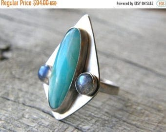 Summer Sale 20% Off Larimar and Labradorite Sterling Silver Ring, Turquoise and Grey Shield Ring, Tribal Ring, Adjustable Ring