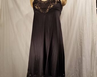 Black vintage slip, 36, nylon, Vanity Fair