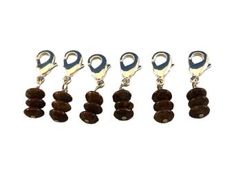Locking Stitch Markers - Set of Six - Genuine Tiger Opal