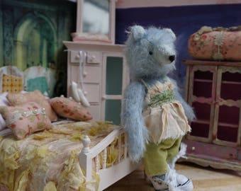 """OOAK Artist Bear - ALICE - 6"""" Tall  Blue German Mohair Collectible Teddy Bear"""