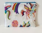 Unicorn Zipper Pouch/ Makeup Bag/ Purse Pouch