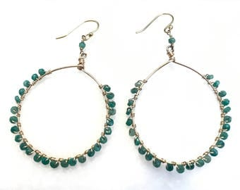 Emerald Hoops // 14k Gold Fill and Emerald Earrings