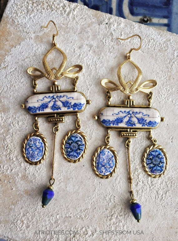 Earrings Tiles Frieze Romantic Portugal Portuguese Assemblage Bow Vintage Connectors Czech glass beads Art Nouveau Art Deco Valentine's Day