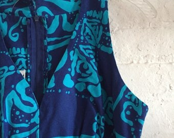 Vintage Hawaiian Dress Blue and Purple by Liberty house by Kiyomi 100% Cotton
