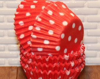 MINI Red Polka Dot Cupcake Liners (Qty 50) Mini Red Polka Dot Baking Cups, Mini Red Cupcake Liners, Mini Red Baking Cups, Red Cupcake Liners