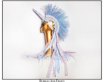 Blushing Blue… Unicorn Mohawk in Pink Blue and White with Stripes, Ruffles and Ribbons
