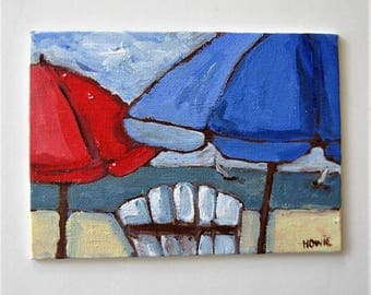 "Beach umbrellas painting on canvas, original acrylic art canvas, Beach chair and Sailboat, 5"" x 7"", Impressionist wall art, gift idea"
